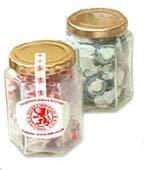 Rock Sweets In An Hexagonal Glass Jar