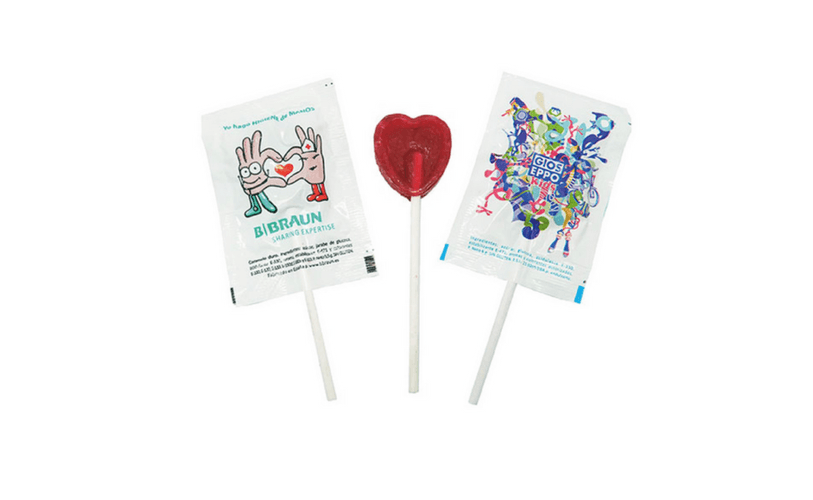 Mini Flat Round or Heart shaped Lollipops