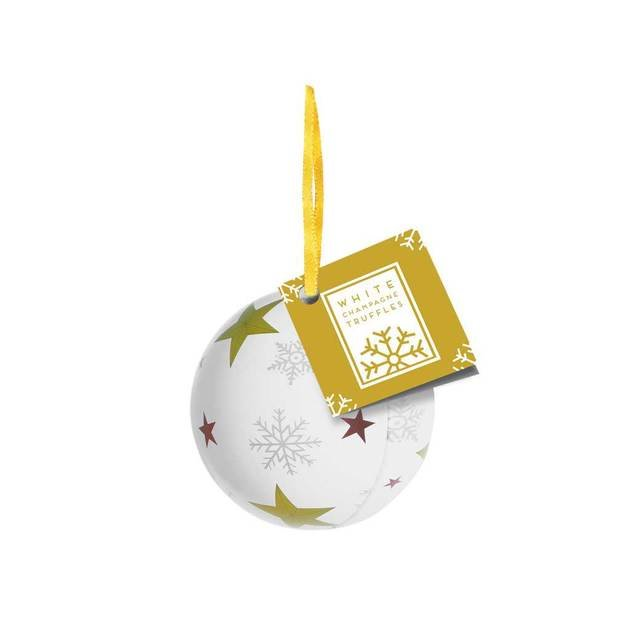 Bauble Tins White Champagne Chocolate Truffles