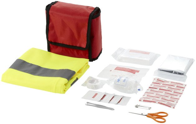 First Aid Kit 19-Piece with Safety Vests
