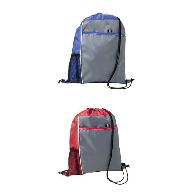 Polyester Drawstring Backpacks with mesh pocket