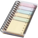 Spinner spiral notebook with coloured sticky notes